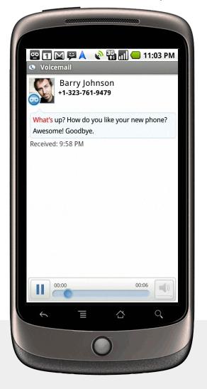 Google Nexus One - Visual Voicemail