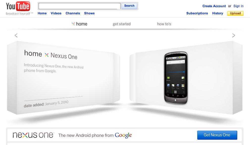 Google Nexus One Youtube page screenshot